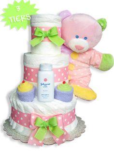 Baby Dimples Pink Diaper Cake