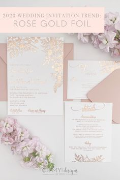 Rose Gold Wedding Invitations with Foil Florals for a Romantic Pink Wedding
