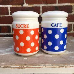Orangevertevintage — Pot Vintage A Pois Arcopal Cafe et Sucre