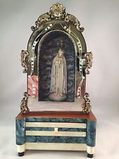Vintage Our Lady Of Fatima Wood Music Box Shrine Made In Portugal
