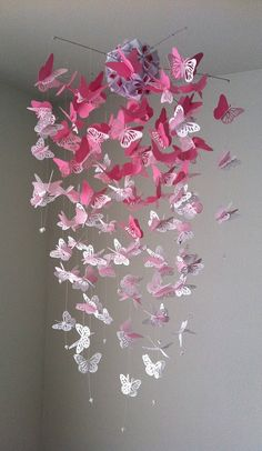 Monarch Butterfly Chandelier Mobile pink and por DragonOnTheFly