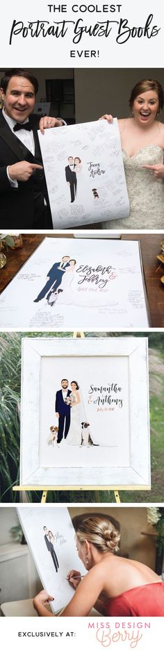 If you are looking for the coolest guest book alternative, then look no further! Miss Design Berry creates awesome, personalized illustrated portraits that will be the talk of your wedding!