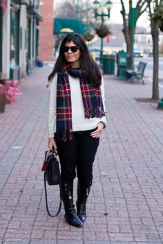 Over sized white sweater + plaid scarf