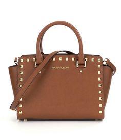 MICHAEL Michael Kors Selma Gold Stud Brown Leather Medium Top Zip Satchel Bag  #MichaelKors #Satchel