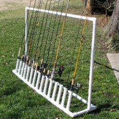 Free plans and pictures of PVC pipe project for holding fishing rods.