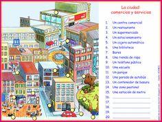 """Recursos didácticos para imprimir, ver, leer: """"La ciudad: comercios y servicios"""" (Me-encanta-escribir.blogspot.com.es)"""
