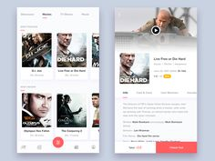 Movies screen for Online Digital Entertainment App! Press 'L' to show your… Ui Design Mobile, Mobile Application Design, App Ui Design, User Interface Design, Android Design, Flat Design, Design Design, Design Thinking, Android Ui