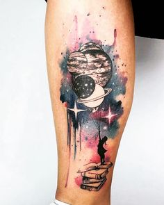 51 Wunderschöne Aquarell-Tattoo-Ideen diy tattoo - diy tattoo images - diy tattoo i Kunst Tattoos, Body Art Tattoos, Small Tattoos, Sleeve Tattoos, Tatoos, Circle Tattoos, Owl Tattoos, Fish Tattoos, Outer Space Tattoos