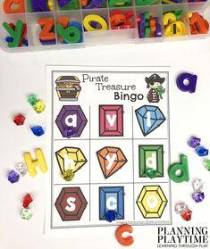 Alphabet Bingo, Alphabet Cards, Pirate Activities, Counting Activities, Preschool Themes, Preschool Worksheets, Pirate Maps, Mermaid Crafts, Early Math