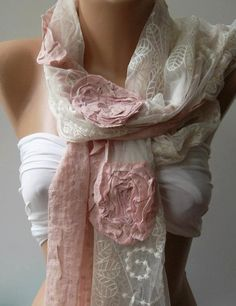 Pink  Elegance Shawl  Scarf with Lace Edge