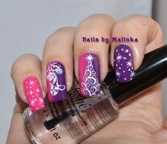 Nails by Malinka: Paars en roze kerstnagels, Purple and Pink Christmas Nails