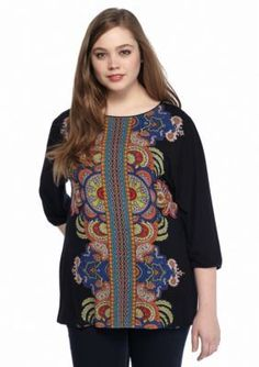 New Directions  Plus Size Medallion Knit Tunic