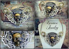 Steam Queen - Regal Victorian Mixed Metal Lacey Bib Statement Necklace gothic neovictorian dark skull crossbones brass antique