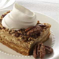 It's the crunchy layer of pecans and the toasty flavor of pumpkin pie spice that make this easy, creamy dessert so satisfying.
