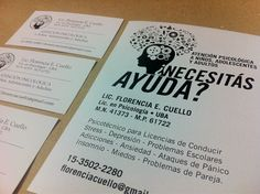 Últimos trabajos: diseño e impresión de tarjetas personales y folletos en tinta negra
