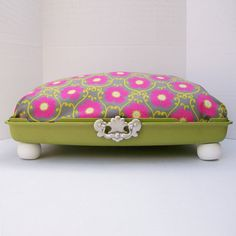 Large Suitcase Dog Bed from 80s suitcase top - Lime Green suitcase with Pink, Gray and Lime Green fabric