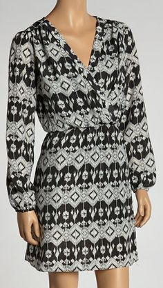 Black & Gray Geometric Surplice Dress