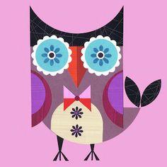 an interesting abstract art owl by Ellen Giggenbach