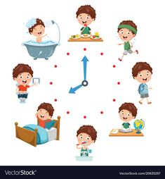 Vector illustration of kids daily routine activities Premium Vector Daily Routine Activities, Preschool Learning Activities, Kids Learning, Fun Crafts, Crafts For Kids, Routine Chart, Kids Schedule, Cartoon Kids, Art For Kids