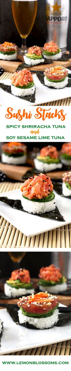 These easy to make, delicious and super flavorful sushi stacks are made with fresh tuna, sushi rice, cucumbers and avocado. Included in the recipe 2 different tuna preparations! Spicy Sriracha Tuna and Soy Sesame Lime. The perfect little bites to satisfy your sushi cravings. via @https://www.pinterest.com/lmnblossoms/