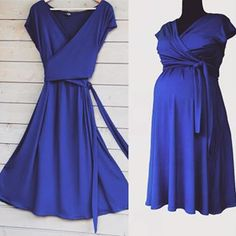Maternity Fashion Dresses, Dress Fashion, Nursing, Wrap Dress, Photo And Video, Videos, Photos, Blue, Fashion Design