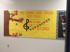 """Autumn music bulletin board-- reimagined from """"birds on a line or in a space"""" Thanksgiving Bulletin Boards, Class Bulletin Boards, Music Classroom, Classroom Themes, Music Teachers, Classroom Organization, Classroom Signs, Classroom Walls, Organizing"""