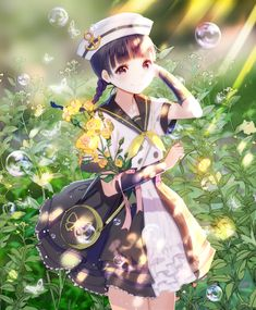 Anime picture with original irure long hair single tall image looking at viewer black hair smile fringe black eyes braid (braids) bubble (bubbles) arm behind head girl uniform flower (flowers) ribbon (ribbons) hat detached sleeves seifuku Anime Girl Cute, Beautiful Anime Girl, Kawaii Anime Girl, Anime Art Girl, Manga Girl, Anime Girls, Manga Anime, Anime Flower, Dibujos Anime Chibi