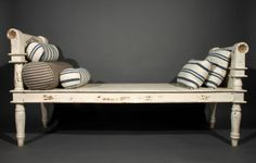 A 19th Century Cream Painted & Parcel Gilt Daybed/Bench - Stock - Antiques Young Guns www.clarkepickett.com www.antiquesyoungguns.com