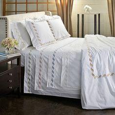 Juego de sábanas de percal y algodón de 300 hilos con bordado enrollado