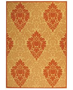 """BEDROOM - MANUFACTURER'S CLOSEOUT! Safavieh Area Rug, Courtyard Indoor/Outdoor CY2714 Natural/Terracotta 7' 10"""" x 11' - 8 x 10 Rugs - Rugs - Macy's"""