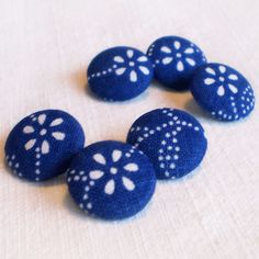 6 Small Fabric Covered Buttons  Hungarian Blue by PatchworkMill, $3.50