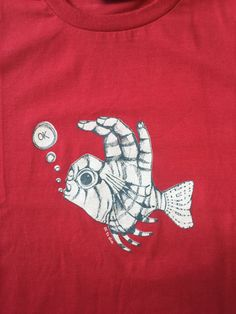 Men's Fish Fingers Dive T-Shirt Cranberry by SonjaHandcraftedTees Gift Wrapping Services, Mens Tees, Fingers, Diving, How To Draw Hands, Shirt Designs, Fish, Prints, Cotton