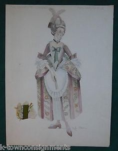 MRS HARDCASTLE SHE STOOPS TO CONQUER THEATRE COSTUME DESIGN SIGNED PAINTING