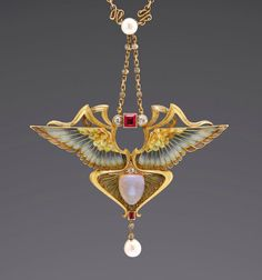 Philippe Wolfers - This exquisitely executed Art Nouveau pendant is made of yellow gold and is called Nike Bijoux Art Nouveau, Art Nouveau Jewelry, Jewelry Art, Gold Jewelry, Jewelry Design, Victorian Jewelry, Antique Jewelry, Vintage Jewelry, Nike Goddess Of Victory