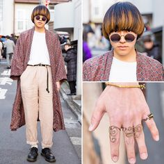 Harajuku Japan в Instagram: «@ogawa_223 on the street in Harajuku wearing a resale outfit with a long coat, handmade rings, and Dr. Martens shoes.»