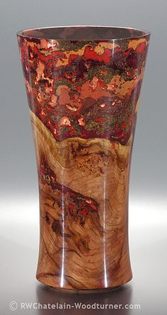 One-of-a-kind black cherry burl memorial urn created by Robert Chatelain