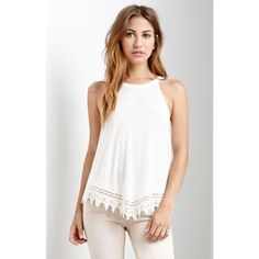 Me To We Crochet Trim Goddess Neck Tank Top ($27) ❤ liked on Polyvore