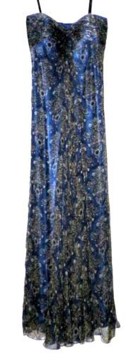 Laundry by Shelli Segal Navy Paisley Silk Lined Strapless Gown MSRP $340 | eBay