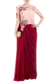 Wine And Peach Draped Jumpsuit Saree by Anushree Agarwal, Sarees with Blouses