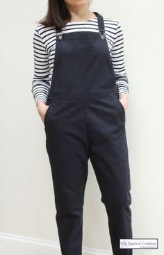 Women's Cotton Dungaree, Navy Blue Overall by MOUSQUETON at THE NAUTICAL COMPANY UK, perfect for a Spring/Summer nautical relaxed look with a Breton top. Stocked in 4 colours #dungaree #overall #springstyling #trendy #fashionable #relaxedstyling #bretontop