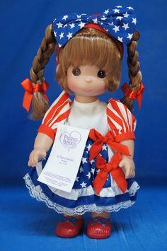 "Minnie Born in USA 12"" Doll Brunette Disney Parks Precious Moments 5239 Signed #PreciousMoments #VinylDolls"