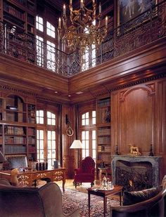 Two-story study/library, French chateau style Home Library Design, Dream Library, Dream Home Design, My Dream Home, House Design, Grand Library, Cozy Library, Library Ideas, Luxury Homes Dream Houses