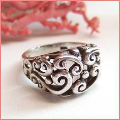 Sterling Silver Ring Elegant Scroll Design Sz 7 Vintage Jewelry
