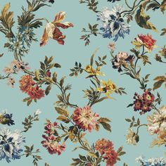 ROSETTA Wallpaper - Verdigris | House of Hackney Liberty Wallpaper, Print Wallpaper, Wallpaper Roll, Daffodils, Tulips, House Of Hackney Wallpaper, British Garden, Primroses, Tulip