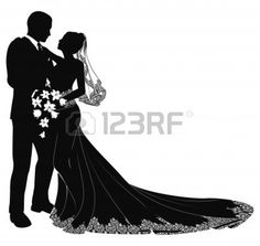 A bride and groom on their wedding day about to kiss in silhouette Stock Vector - 9398115