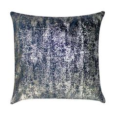 """The Ibiza throw pillow effortlessly exudes edgy and glamorous style. On navy velvet, abstract silver print offers dimensional intrigue to this sleek accent. 100% velvet; 95% feather/5% down insert included; Zipper closure; Dry clean or spot clean recommended; 20""""W x 20""""H"""