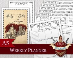 Mischief Managed Filofax/Planner A5 printable Weekly Planner by Tales of Wonderland, inspired by Harry Potter