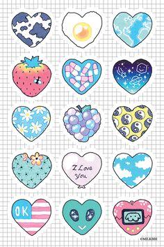 trendy wallpaper iphone cute girly flowers we heart it Mini Drawings, Easy Drawings, Print Stickers, Kawaii Doodles, Kawaii Drawings, Kawaii Stickers, Sticker Sheets, Iphone, Disney