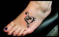 Music foot tattoo