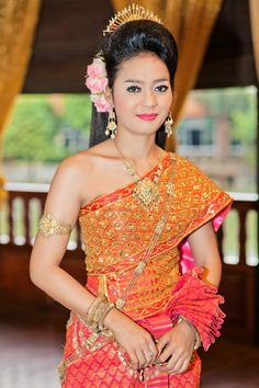 The beautiful Cambodian traditional dress... Need to get it on my next trip...